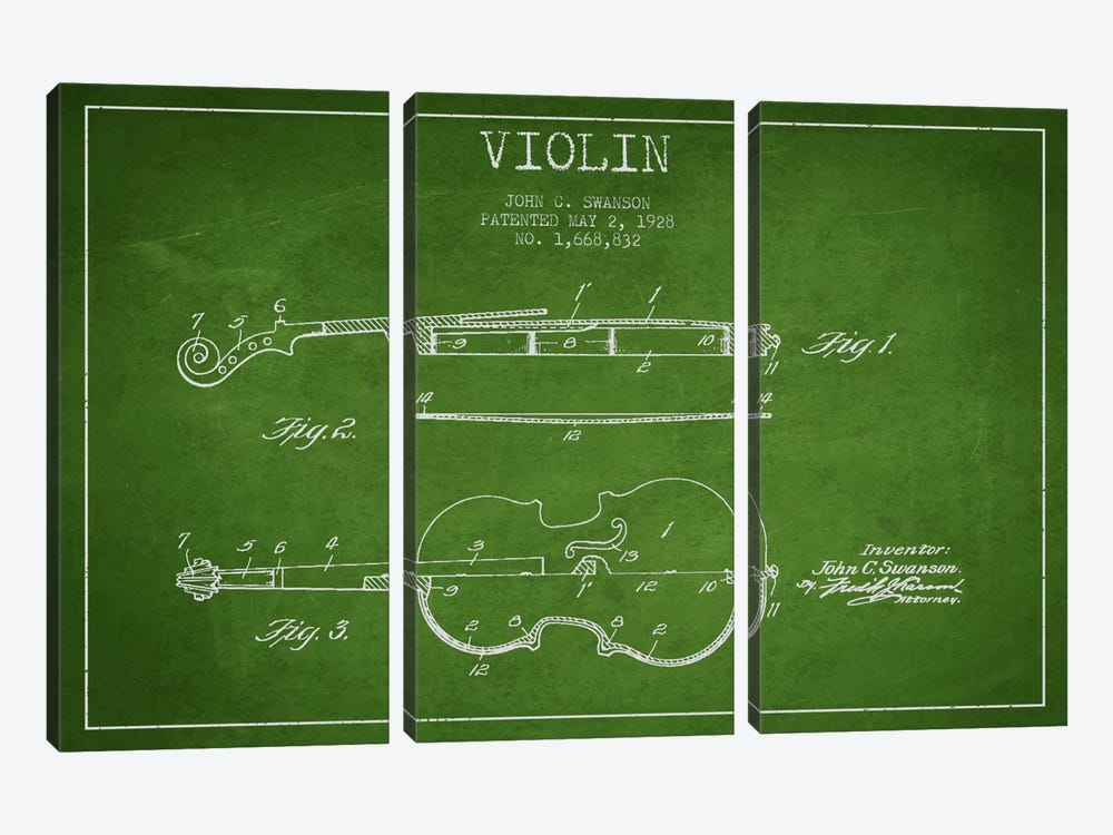 Violin Green Patent Blueprint by Aged Pixel 3-piece Canvas Artwork