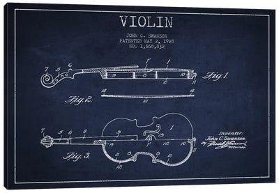 Violin Navy Blue Patent Blueprint Canvas Print #ADP906