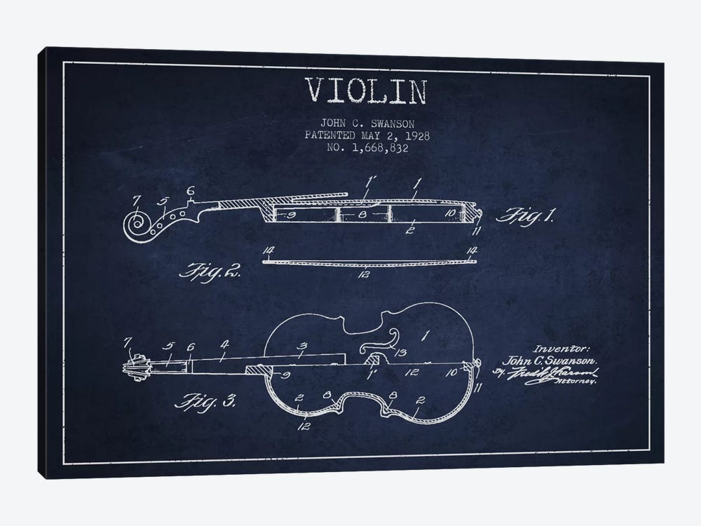 Violin Navy Blue Patent Blueprint by Aged Pixel 1-piece Canvas Art Print