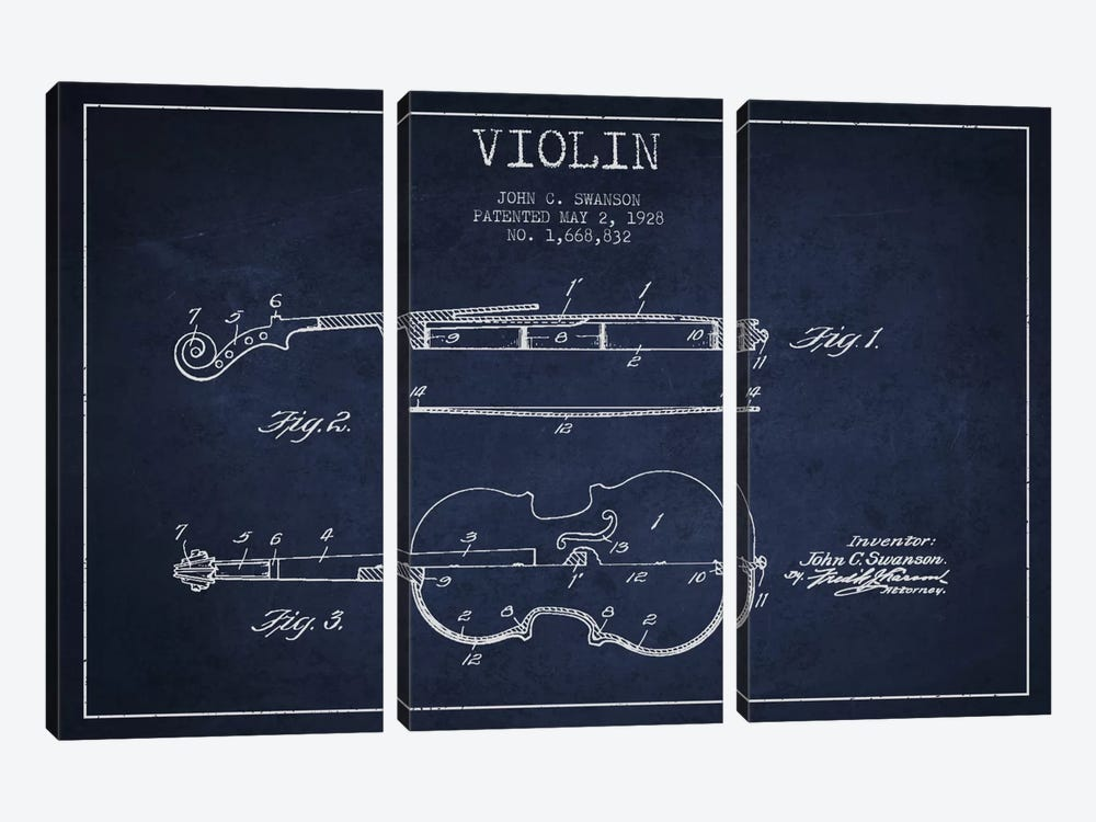 Violin Navy Blue Patent Blueprint by Aged Pixel 3-piece Canvas Print