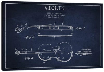 Violin Navy Blue Patent Blueprint Canvas Art Print