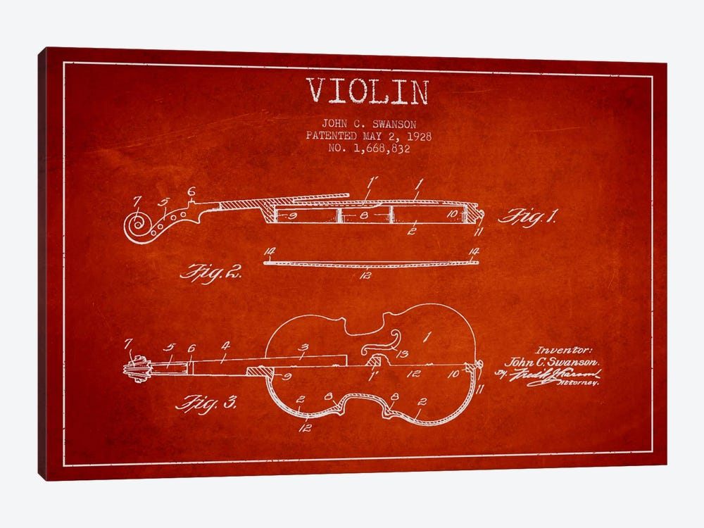 Violin Red Patent Blueprint by Aged Pixel 1-piece Canvas Artwork