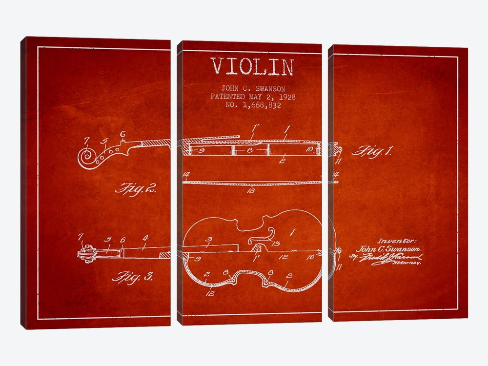 Violin Red Patent Blueprint by Aged Pixel 3-piece Canvas Art