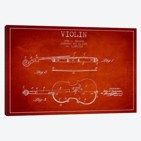 Violin Red Patent Blueprint Canvas Print #ADP907} by Aged Pixel Canvas Print