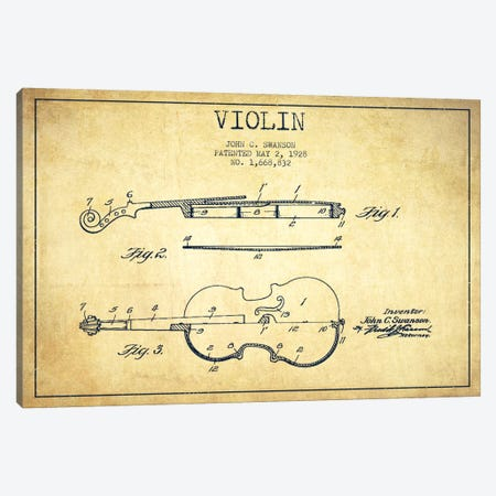 Violin Vintage Patent Blueprint Canvas Print #ADP908} by Aged Pixel Canvas Art