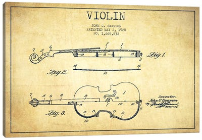 Violin Vintage Patent Blueprint Canvas Art Print