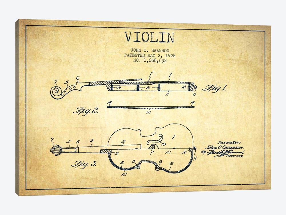 Violin Vintage Patent Blueprint by Aged Pixel 1-piece Canvas Art Print