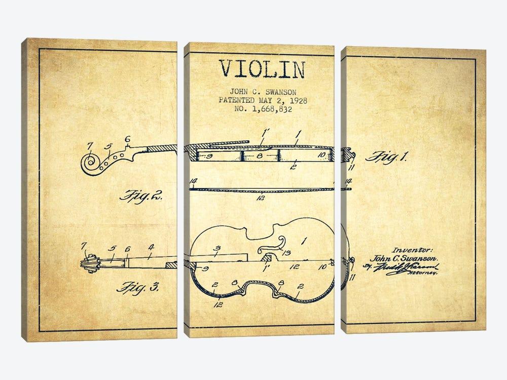 Violin Vintage Patent Blueprint by Aged Pixel 3-piece Canvas Art Print