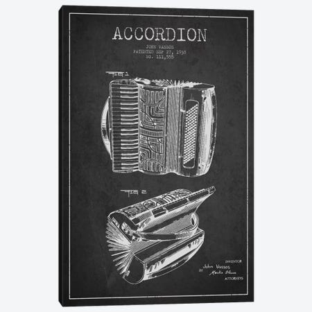 Accordion Charcoal Patent Blueprint Canvas Print #ADP909} by Aged Pixel Canvas Art