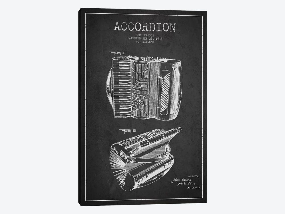 Accordion Charcoal Patent Blueprint by Aged Pixel 1-piece Canvas Artwork