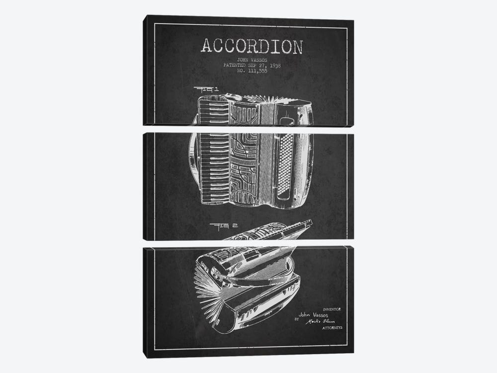 Accordion Charcoal Patent Blueprint by Aged Pixel 3-piece Canvas Art