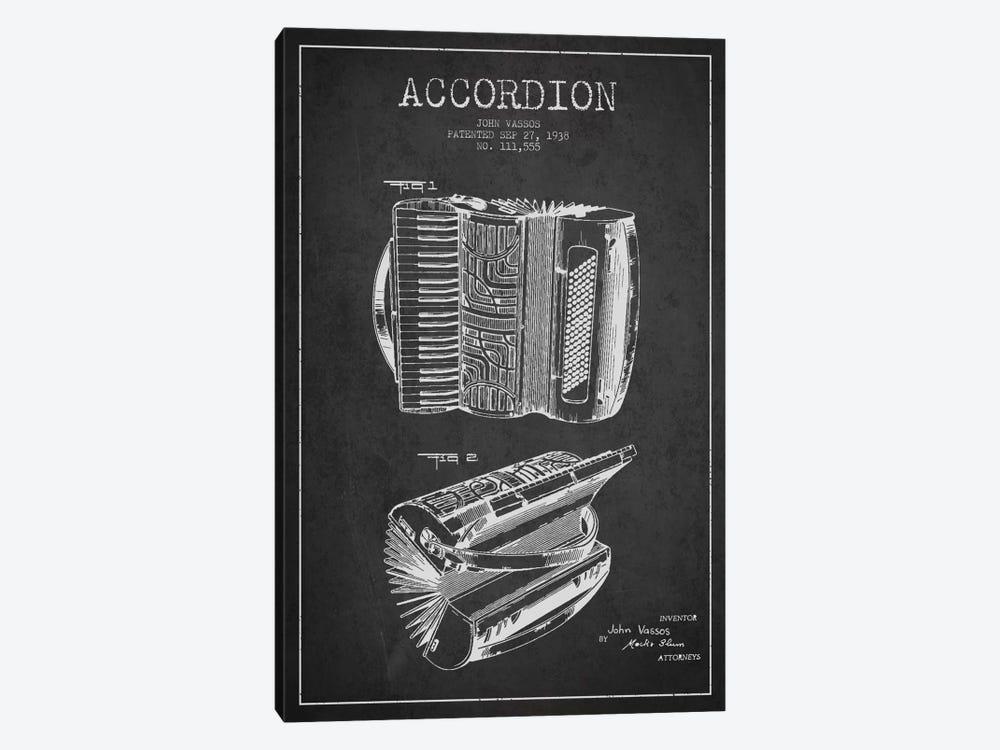 Accordion Charcoal Patent Blueprint by Aged Pixel 1-piece Canvas Artwork
