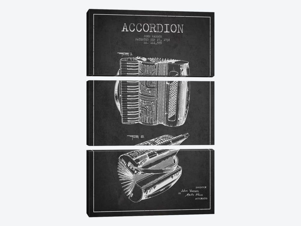 Accordion Charcoal Patent Blueprint by Aged Pixel 3-piece Canvas Art