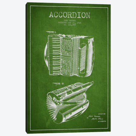 Accordion Green Patent Blueprint Canvas Print #ADP910} by Aged Pixel Canvas Print