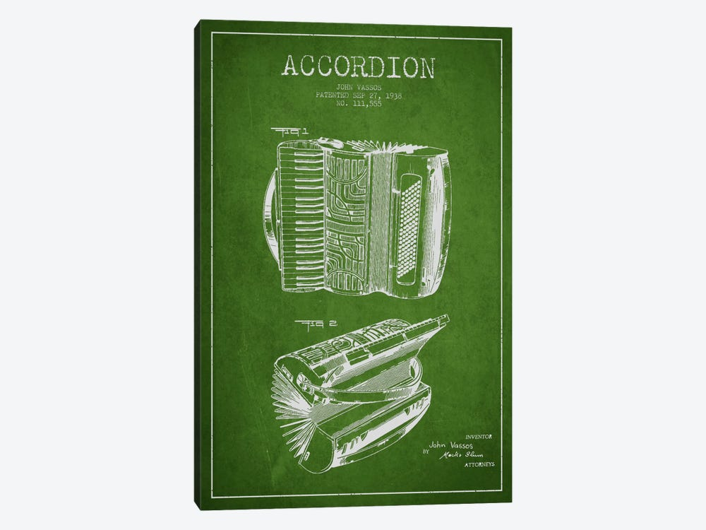 Accordion Green Patent Blueprint by Aged Pixel 1-piece Canvas Art