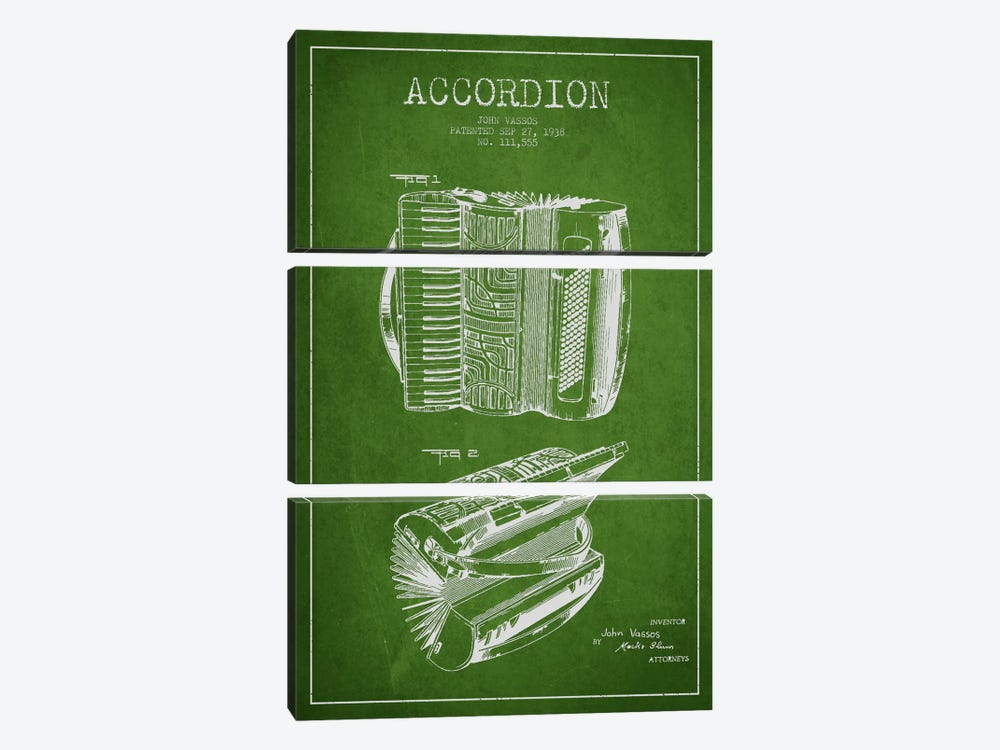 Accordion Green Patent Blueprint by Aged Pixel 3-piece Canvas Artwork