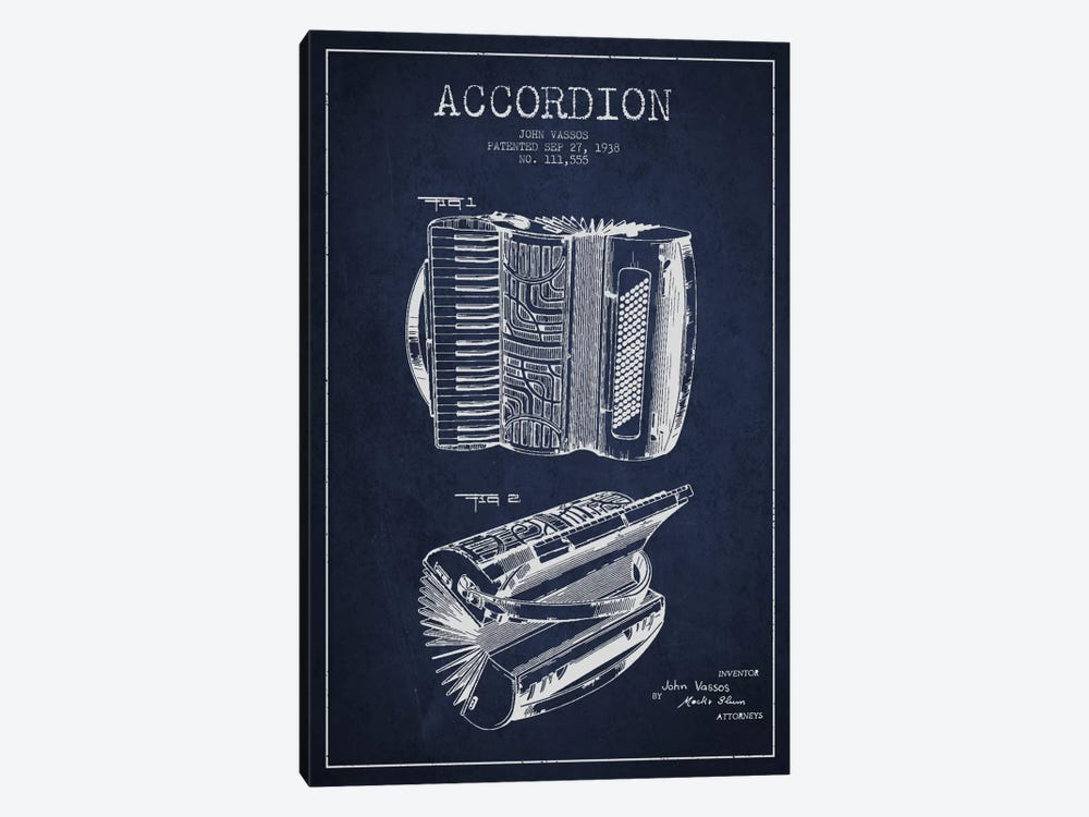 Accordion Navy Blue Patent Blueprint 1-piece Canvas Print