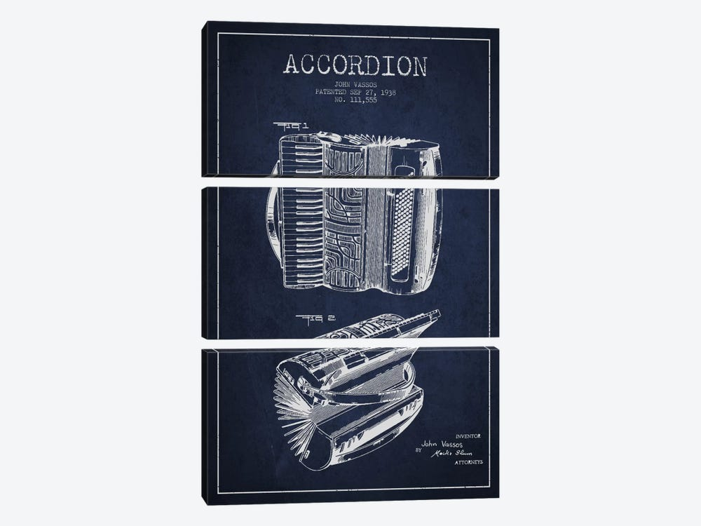 Accordion Navy Blue Patent Blueprint by Aged Pixel 3-piece Canvas Print
