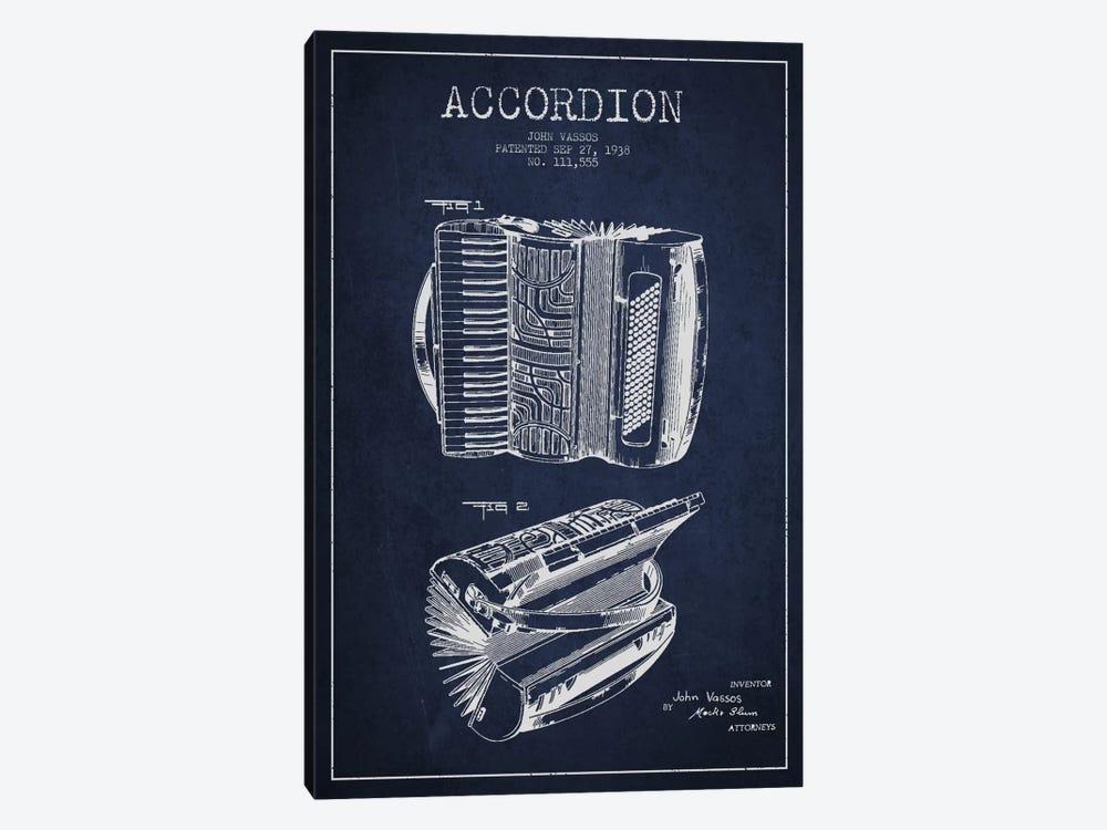 Accordion Navy Blue Patent Blueprint by Aged Pixel 1-piece Canvas Print