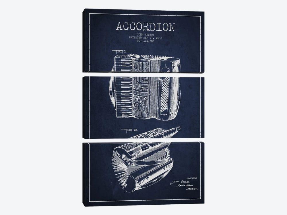 Accordion Navy Blue Patent Blueprint by Aged Pixel 3-piece Canvas Print
