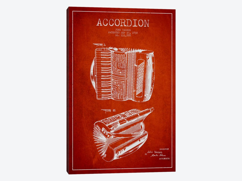 Accordion Red Patent Blueprint by Aged Pixel 1-piece Canvas Wall Art