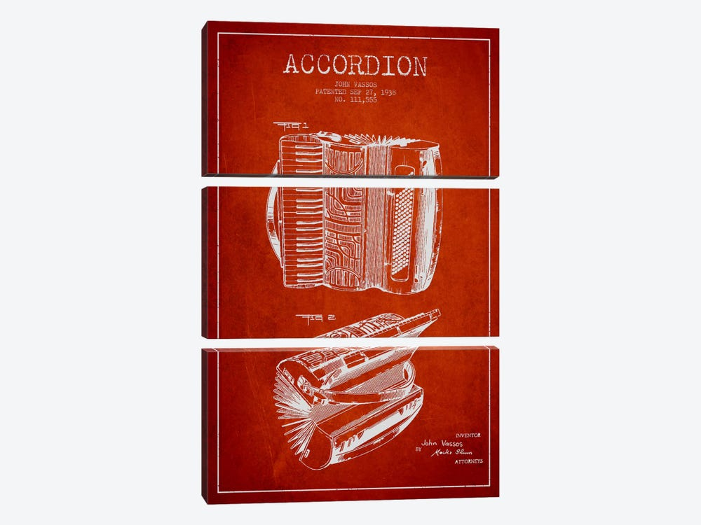 Accordion Red Patent Blueprint by Aged Pixel 3-piece Canvas Artwork