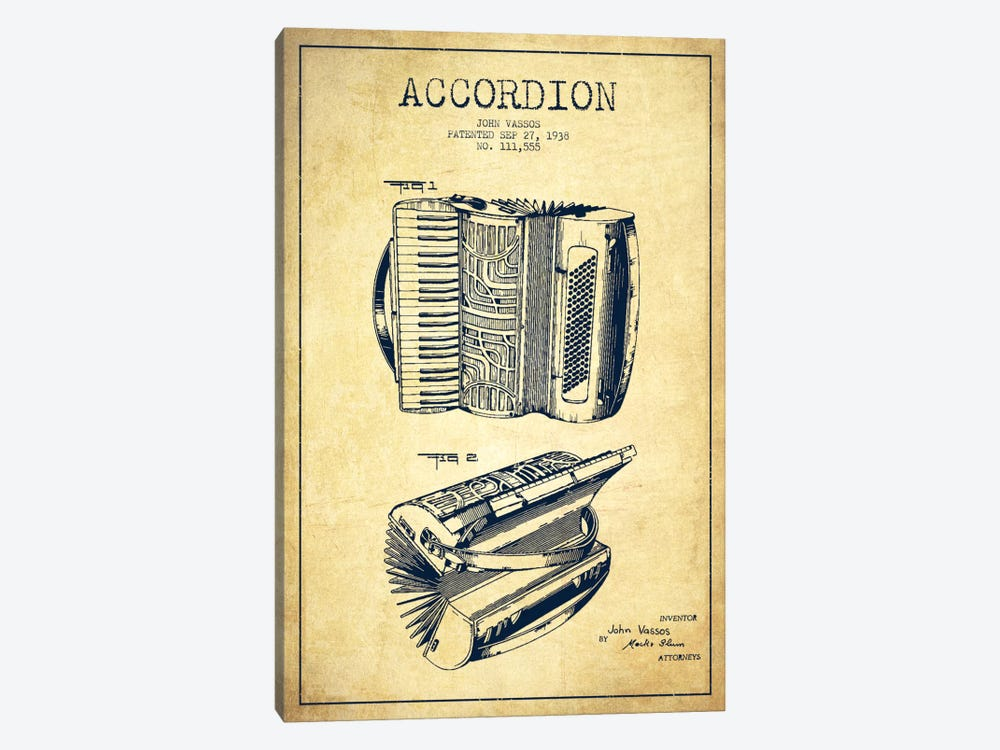 Accordion Vintage Patent Blueprint by Aged Pixel 1-piece Canvas Art Print