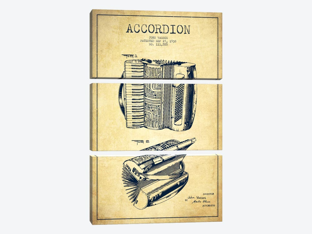 Accordion Vintage Patent Blueprint by Aged Pixel 3-piece Art Print