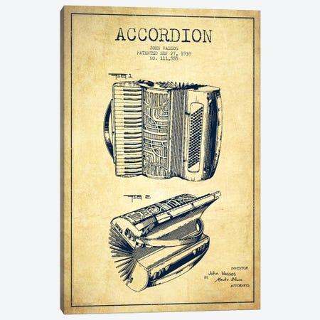 Accordion Vintage Patent Blueprint Canvas Print #ADP913} by Aged Pixel Canvas Print