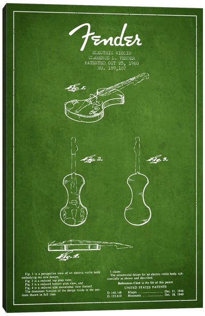 Violin Green Patent Blueprint Canvas Art Print