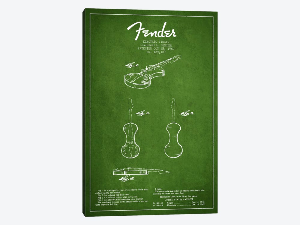Violin Green Patent Blueprint by Aged Pixel 1-piece Canvas Art Print