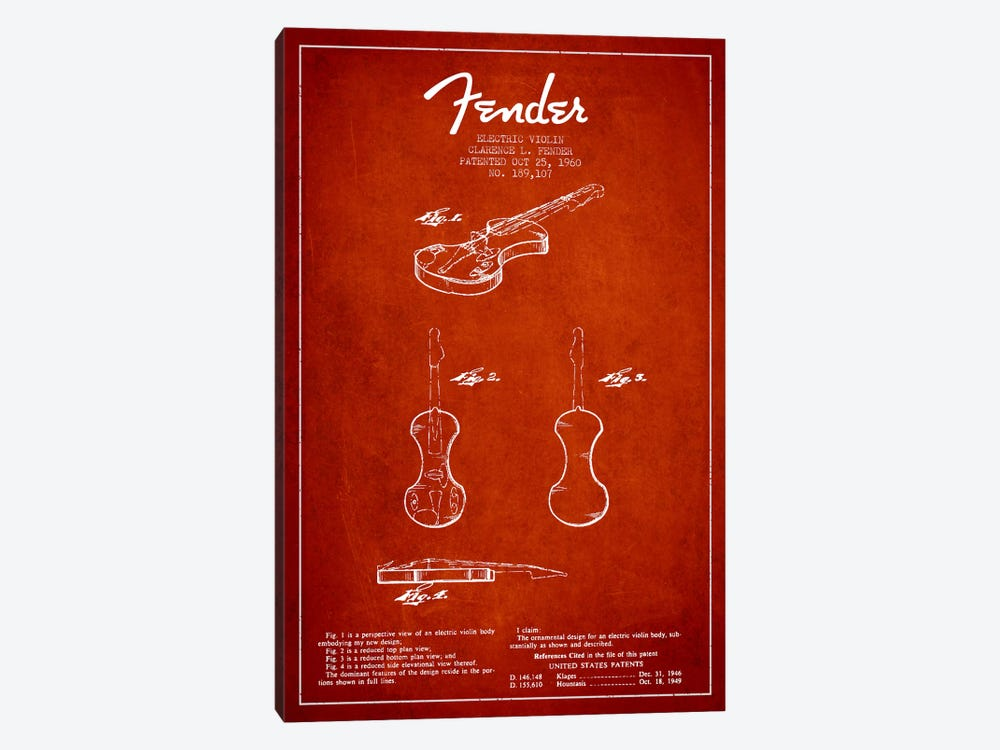 Violin Red Patent Blueprint by Aged Pixel 1-piece Canvas Print
