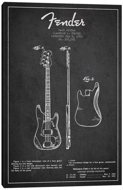 Bass Guitar Charcoal Patent Blueprint Canvas Art Print