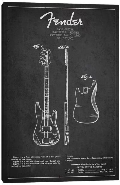 Bass Guitar Charcoal Patent Blueprint Canvas Art Print