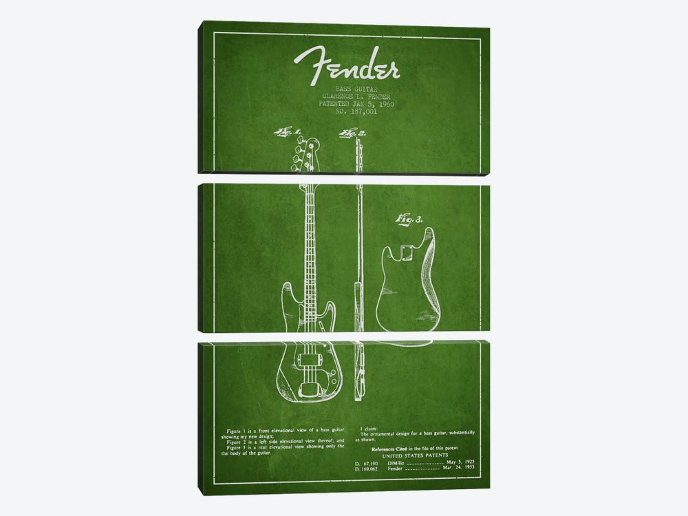 Bass Guitar Green Patent Blueprint by Aged Pixel 3-piece Art Print