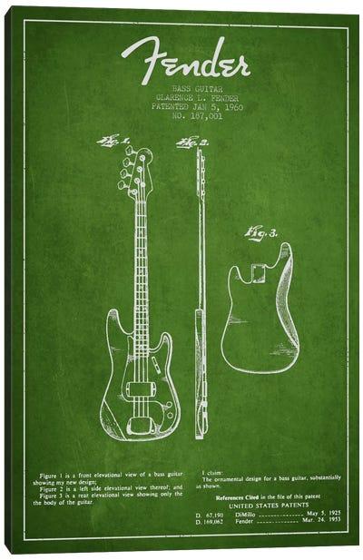 Bass Guitar Green Patent Blueprint Canvas Art Print