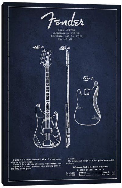 Bass Guitar Navy Blue Patent Blueprint Canvas Art Print