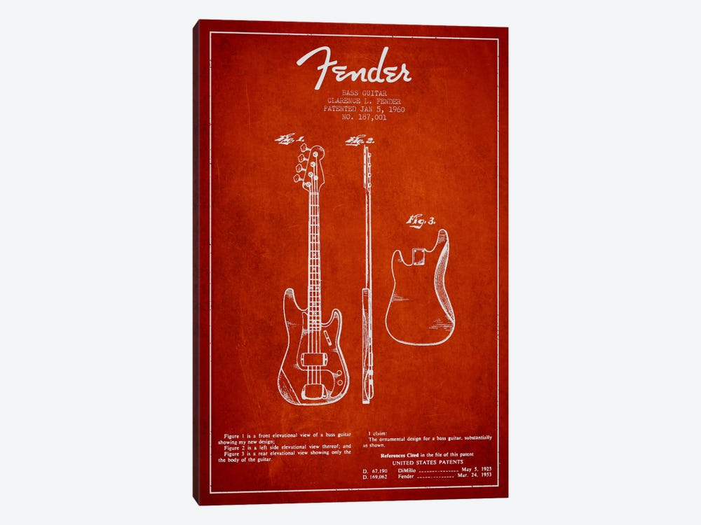 Bass Guitar Red Patent Blueprint by Aged Pixel 1-piece Canvas Print