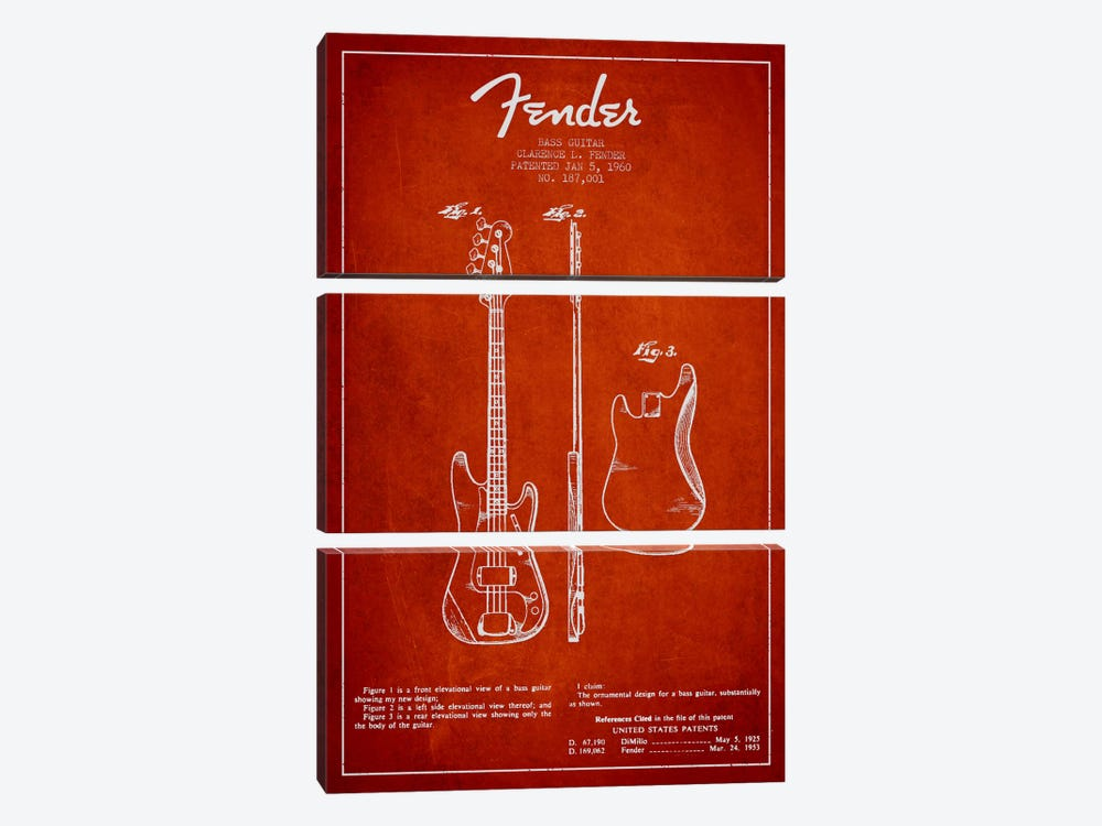 Bass Guitar Red Patent Blueprint by Aged Pixel 3-piece Canvas Print