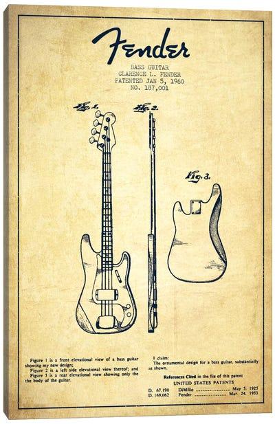 Bass Guitar Vintage Patent Blueprint Canvas Print #ADP923