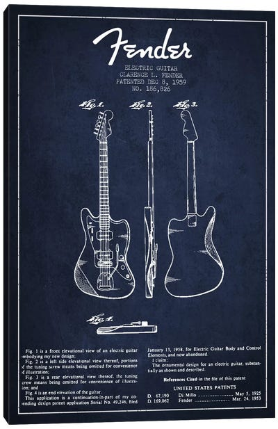 Electric Guitar Navy Blue Patent Blueprint Canvas Print #ADP926