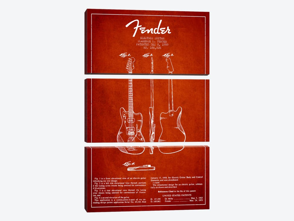 Electric Guitar Red Patent Blueprint by Aged Pixel 3-piece Canvas Artwork