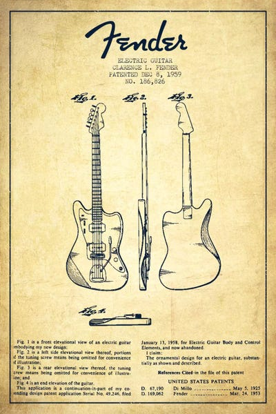 Electric Guitar Vintage Patent Blueprint Canvas Art By