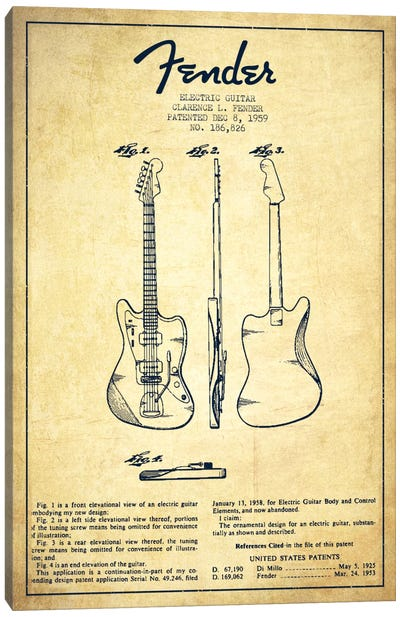 Electric Guitar Vintage Patent Blueprint Canvas Print #ADP928