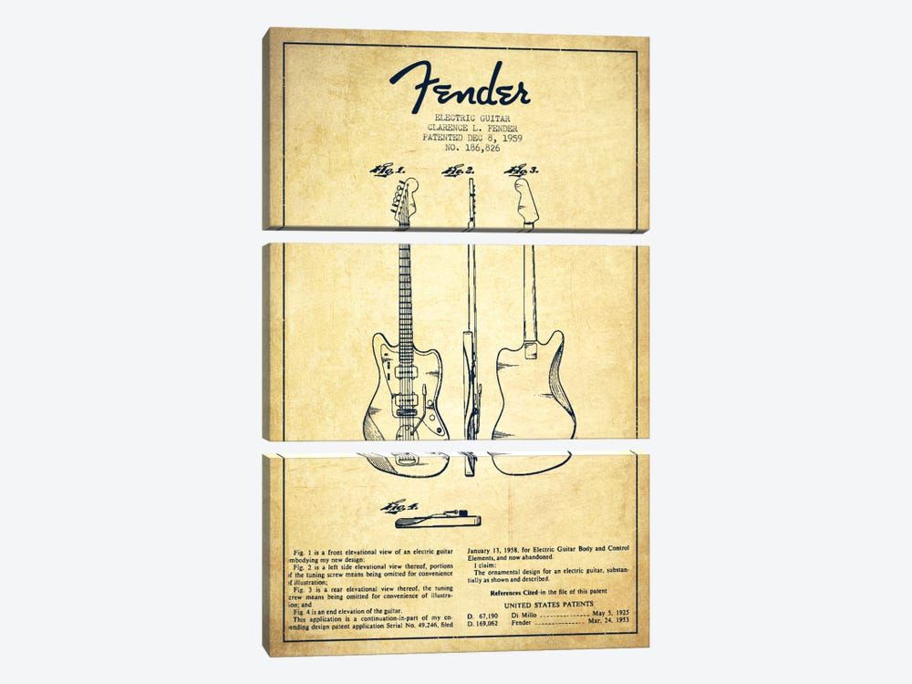 Electric Guitar Vintage Patent Blueprint by Aged Pixel 3-piece Canvas Print