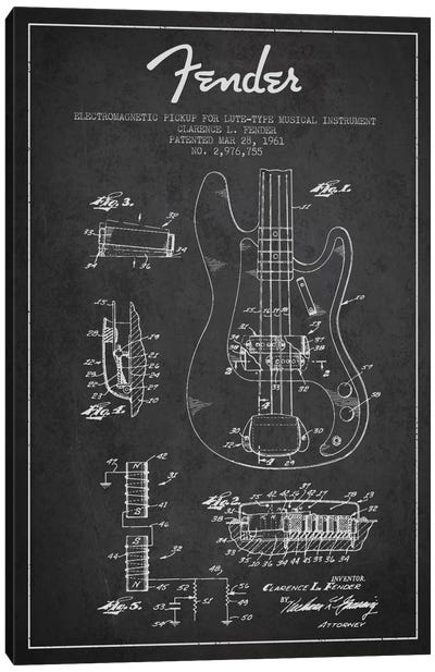 Guitar Charcoal Patent Blueprint Canvas Art Print