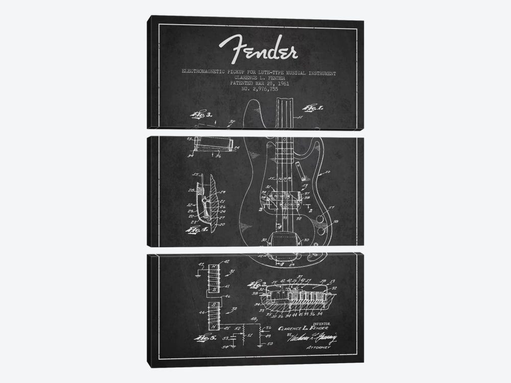 Guitar Charcoal Patent Blueprint by Aged Pixel 3-piece Canvas Artwork