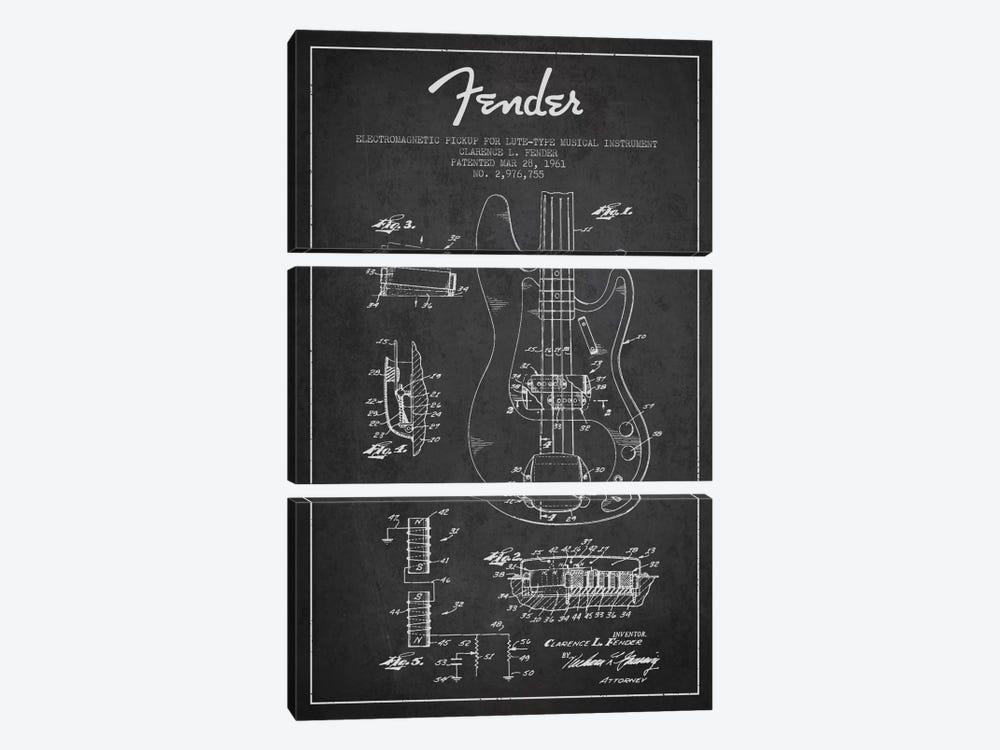 Guitar Charcoal Patent Blueprint by Aged Pixel 3-piece Canvas Artwork