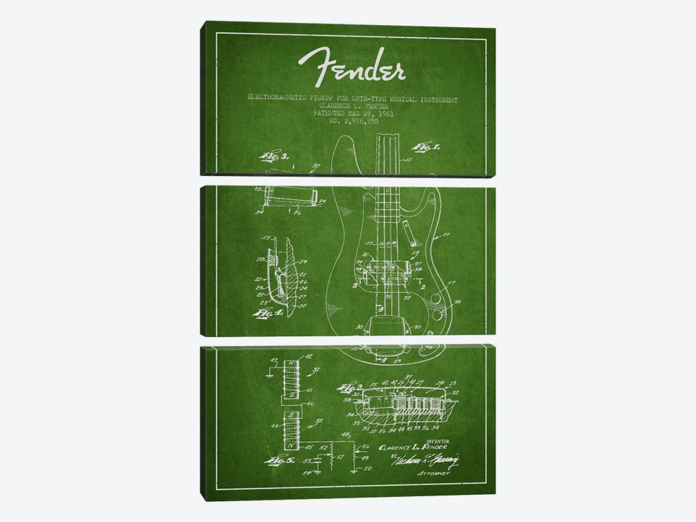 Guitar Green Patent Blueprint by Aged Pixel 3-piece Canvas Artwork