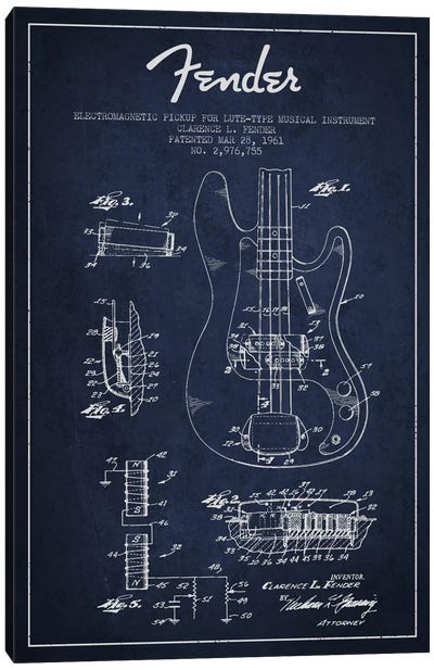 Guitar Navy Blue Patent Blueprint Canvas Print #ADP931